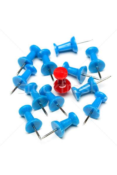 Kazanan kırmızı pin mavi iş Stok fotoğraf © aremafoto