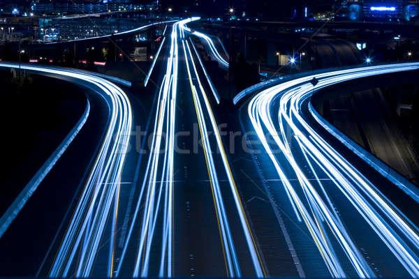 Verkeer shot spitsuur brug Blauw snelweg Stockfoto © aremafoto