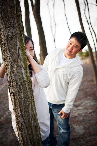 Photo stock: Asian · couple · portrait · extérieur · homme