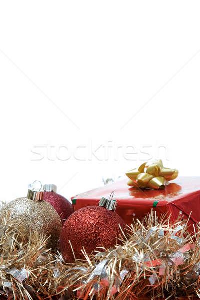 Noel hediyeler atış süsler bo kış Stok fotoğraf © aremafoto