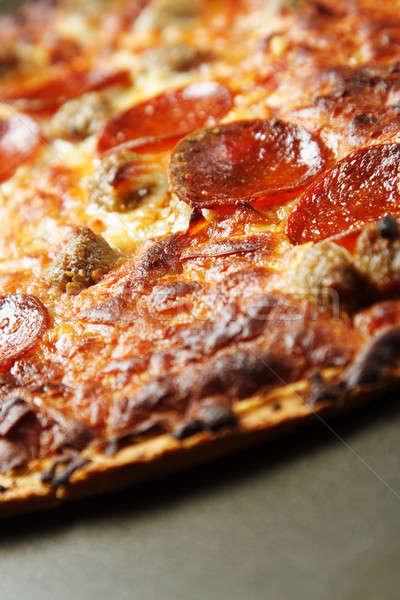 Pepperoni pizza sabroso delicioso delgado cena Foto stock © aremafoto