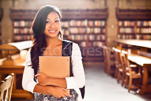 Photo stock: Asian · portrait · bibliothèque · femme · étudiant