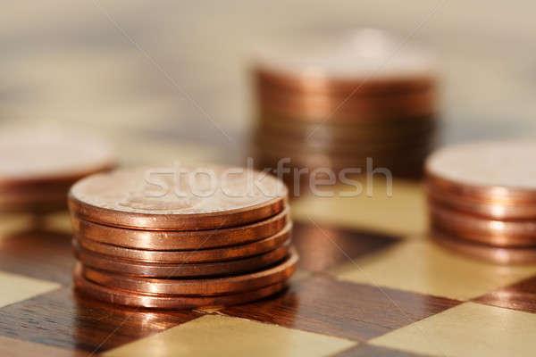 Planification financière échiquier affaires banque trésorerie dollar Photo stock © aremafoto
