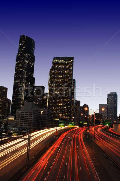 Centrum verkeer zwaar snelweg stad vertragen Stockfoto © aremafoto