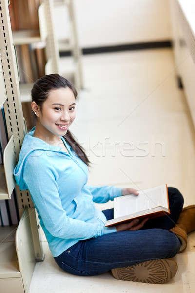 Asia retrato estudiar biblioteca libro Foto stock © aremafoto
