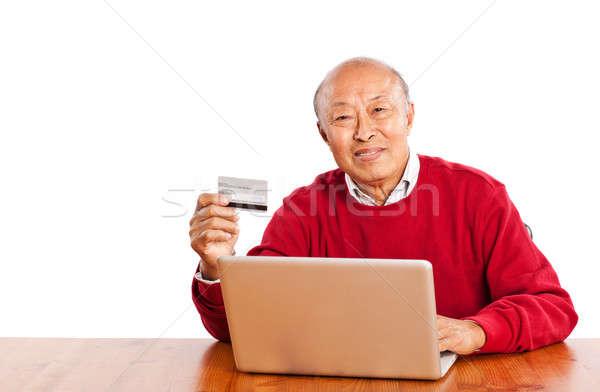 Stockfoto: Senior · asian · man · winkelen · online · vieren