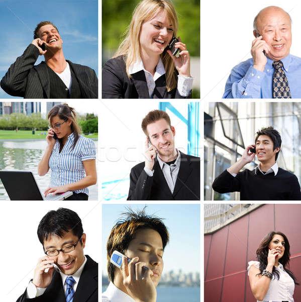 Pessoas de negócios falante telefone colagem diverso negócio Foto stock © aremafoto