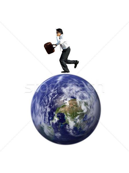 忙しい ビジネスマン 話し 電話 を実行して 世界中 ストックフォト © aremafoto