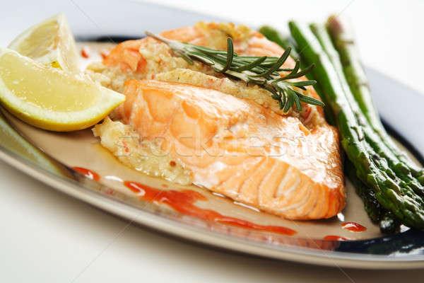 Сток-фото: лосося · фаршированный · спаржа · сторона · рыбы