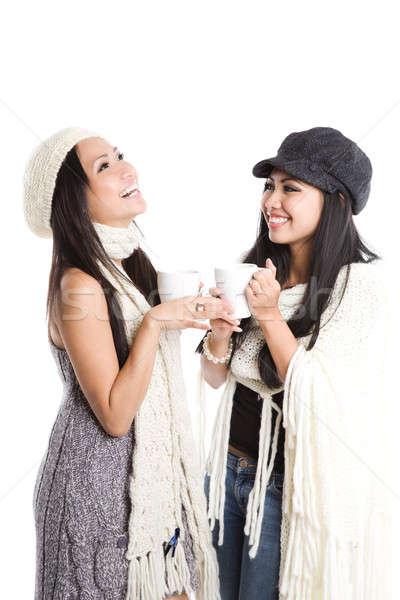 Happy beautiful asian women laughing Stock photo © aremafoto