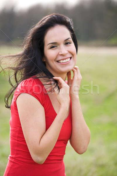 Stockfoto: Mooie · zomer · vrouw · outdoor · shot · latino