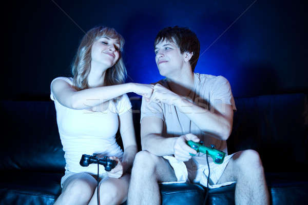 Couple playing video games Stock photo © aremafoto