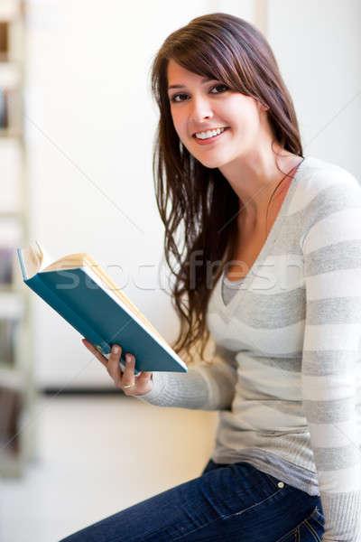 Stockfoto: Halfbloed · student · portret · campus · vrouw