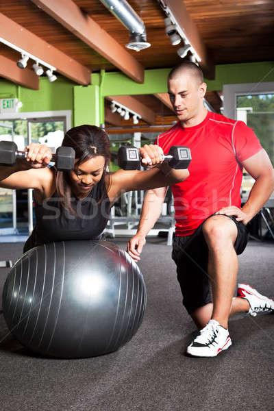 личные подготовки выстрел мужчины Личный тренер женщину Сток-фото © aremafoto