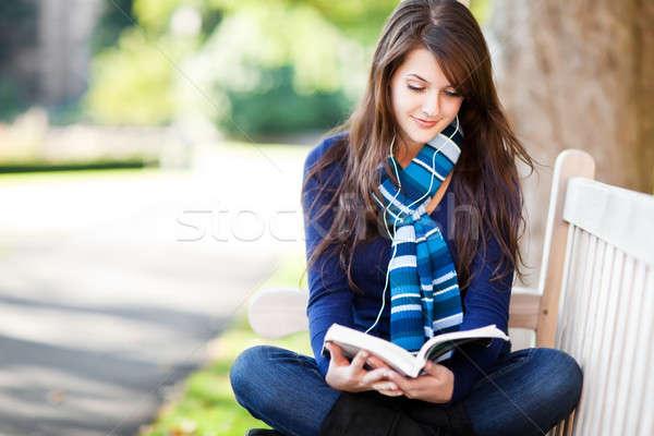 Stockfoto: Halfbloed · student · studeren · portret · campus