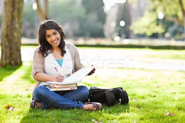 ázsiai diák kampusz lövés tanul gyep Stock fotó © aremafoto