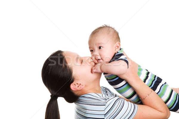 Foto stock: Asia · madre · hijo · aislado · tiro · besar