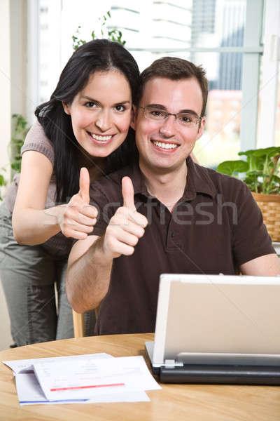 Stock fotó: Boldog · pár · remek · fizet · számlák · online