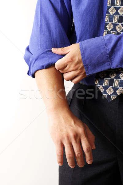 Pracy biznesmen w górę ręce niebieski garnitur Zdjęcia stock © aremafoto