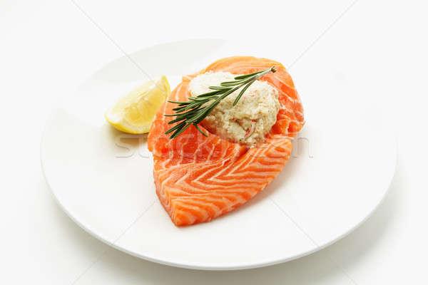 Сток-фото: лосося · Cut · сырой · пластина · рыбы · обеда