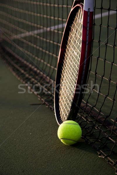 Foto d'archivio: Tennis · shot · palla · da · tennis · net · campo · da · tennis