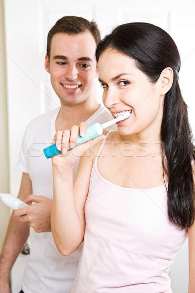 Pár fogmosás fürdőszoba gyönyörű család egészség Stock fotó © aremafoto