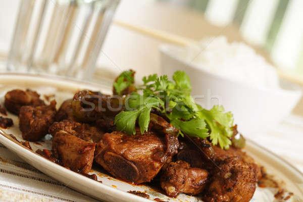スペア リブ 豚肉 調理済みの 緑 唐辛子 ストックフォト © aremafoto