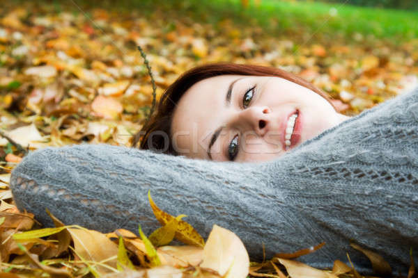Caucasian girl in fall season Stock photo © aremafoto