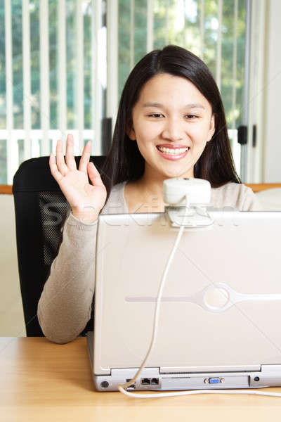 Işkadını toplantı iş dizüstü bilgisayar web Stok fotoğraf © aremafoto