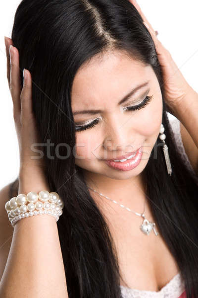 Stressed beautiful asian woman Stock photo © aremafoto