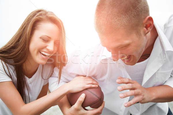 Сток-фото: счастливым · пару · красивой · кавказский · играет