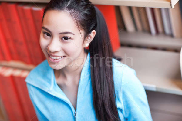 Foto stock: Asia · retrato · estudiar · biblioteca · mujer
