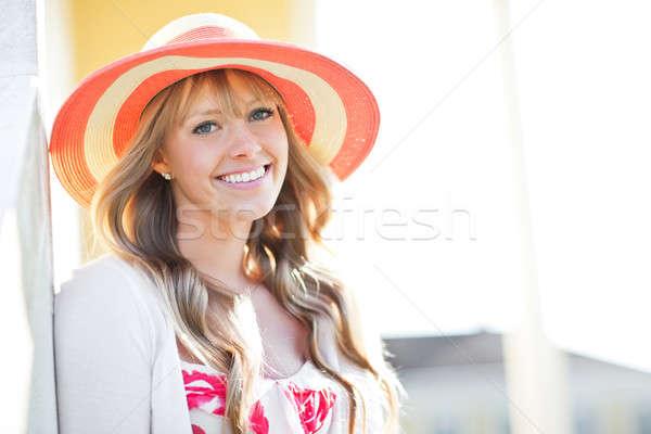 Stock fotó: Gyönyörű · kaukázusi · nő · szabadtér · portré · fiatal