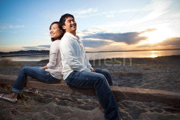 Stock foto: Asian · Paar · Porträt · Freien · Frau