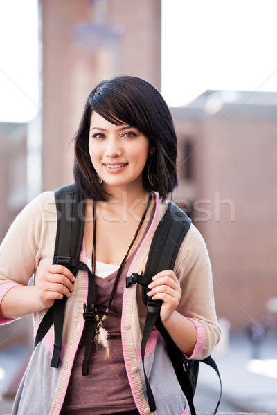 Stock photo: Mixed race college student