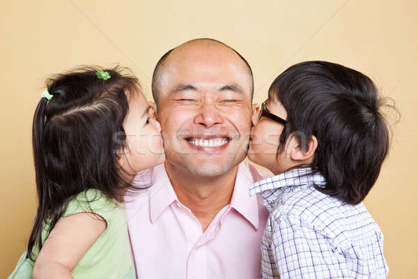 Stock photo: Asian father and kids
