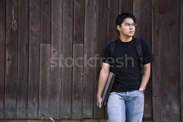 Сток-фото: азиатских · студент · ноутбука · рюкзак · человека