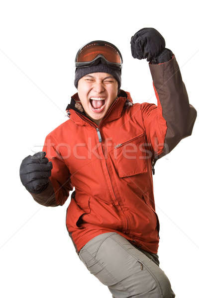 Snowbordos izolált lövés boldog ázsiai férfi Stock fotó © aremafoto