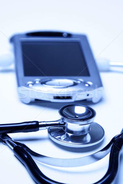 Stok fotoğraf: Stetoskop · pda · mavi · doktor · sağlık · hastane