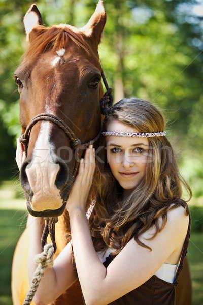 Foto stock: Menina · cavalo · retrato · caucasiano · mulher · moda