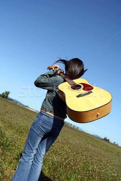 Woman guitar player Stock photo © aremafoto