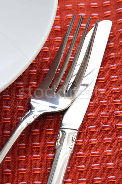 Eettafel shot plaat vork mes Rood Stockfoto © aremafoto