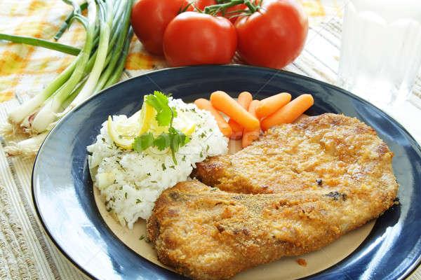 Gurme gıda domuz eti pirzola pirinç havuç Stok fotoğraf © aremafoto