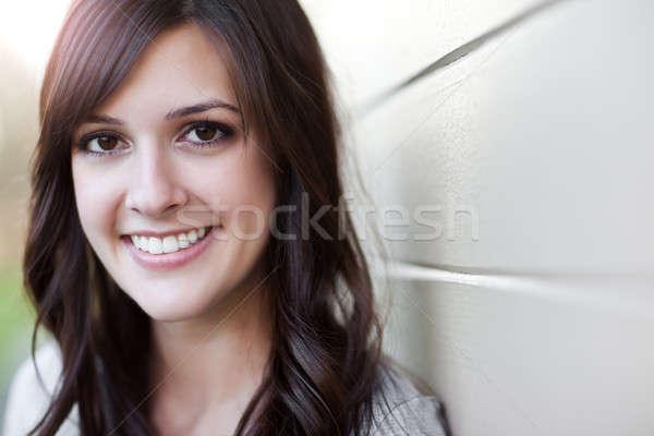 Güzel bir kadın portre gülen mutlu güzellik güzel Stok fotoğraf © aremafoto