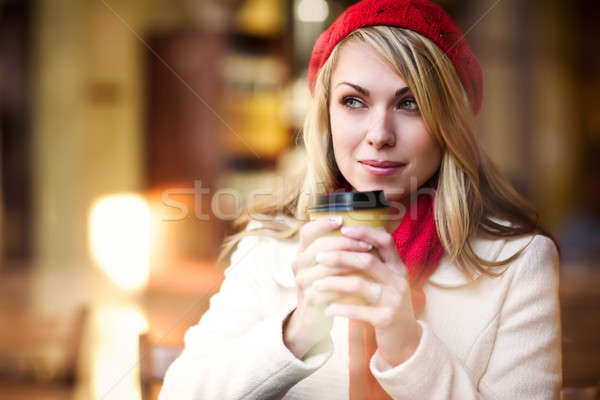 Woman drinking coffee Stock photo © aremafoto