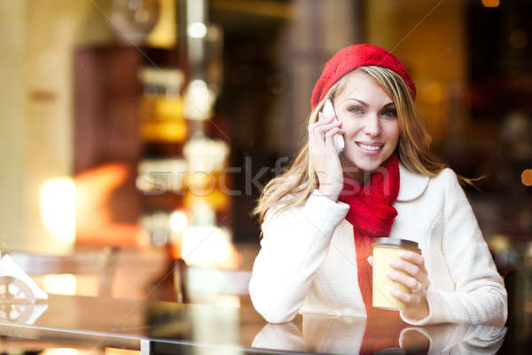 Woman talking on the phone Stock photo © aremafoto