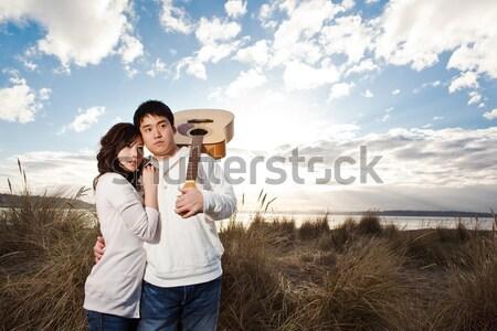Photo stock: Asian · couple · portrait · extérieur · femme