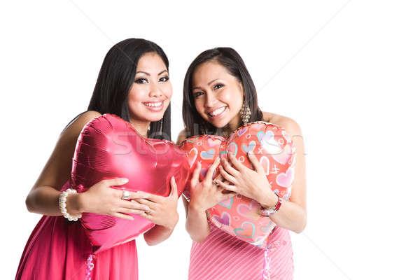 Asian women celebrating valentine Stock photo © aremafoto