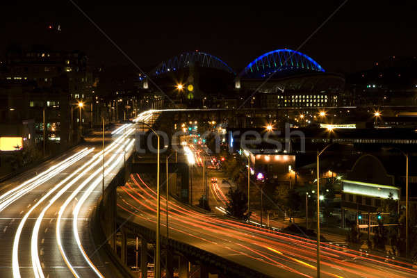 Stockfoto: Spitsuur · shot · verkeer · centrum · Seattle · snelweg