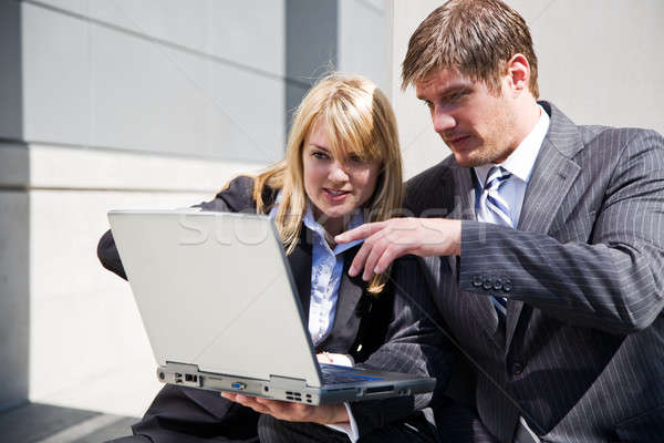 Trabalhando caucasiano pessoas de negócios dois negócio homem Foto stock © aremafoto
